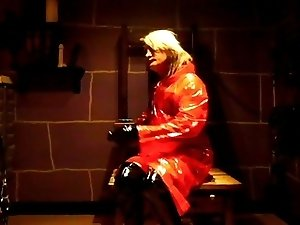 red plastic raincoat