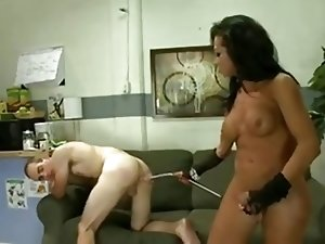 Fetish act with a tempting Tgirl