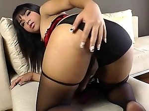 Shemale Eve solely masturbates her cock
